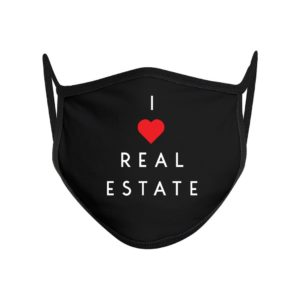 Black I heart Real Estate Facemask