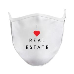 I heart Real Estate White Facemask